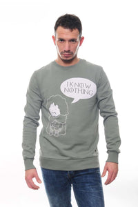 Green I Know Nothing John Snow Printed Cotton Sweatshirt Timya Wholesale S-Ponder