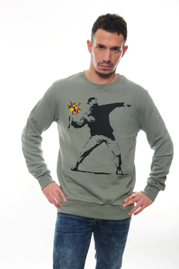 Green The Flower Bomb Thrower by Banksy Printed Cotton Sweatshirt Timya Wholesale S-Ponder
