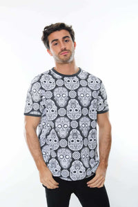 Grey Full Mexican Skull Printed Cotton T-Shirt Tee Top Timya Wholesale S-Ponder