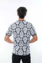 Load image into Gallery viewer, Grey Full Mexican Skull Printed Cotton T-Shirt - S-Ponder Shop