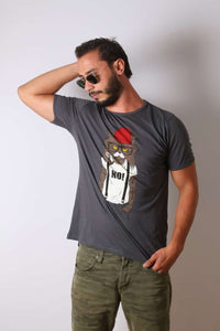 Grey Red Hat Cat Animal Printed Cotton T-shirt - S-Ponder Shop