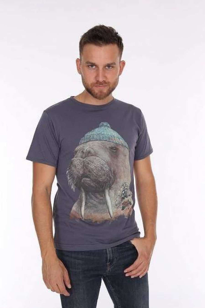 Grey Walrus Animal Printed Cotton Men T-Shirt Tee Top Timya Wholesale S-Ponder
