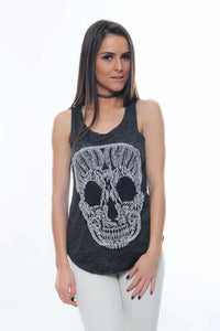 Lace Skull Cotton Women Vest  Tank Top Timya Wholesale S-Ponder