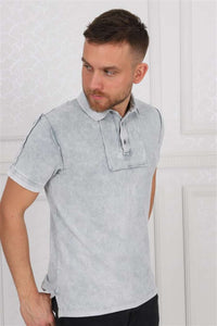 Shaded Green Stone Washed Cotton Men Polo T-Shirt