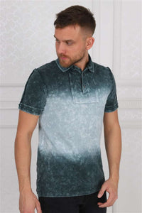 Shaded Green Stone Washed Cotton Men Polo T-Shirt Timya Wholesale S-Ponder