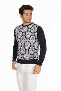 Sugar Candy Skull All Over Print Navy Sweatshirt - S-Ponder Shop