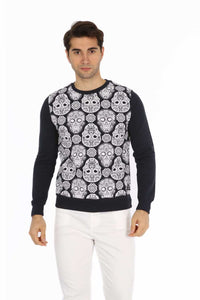 Sugar Candy Skull All Over Print Navy Sweatshirt Timya Wholesale S-Ponder