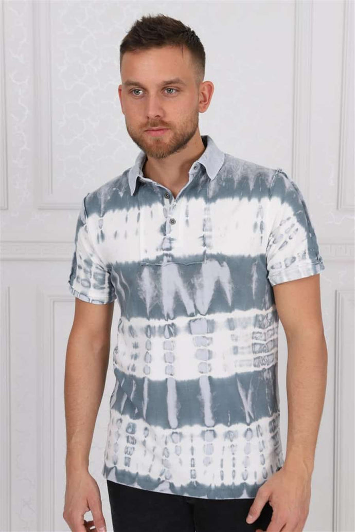 Thick Stripped Coloured Stone Washed Cotton Men Polo T-Shirt Timya Wholesale S-Ponder