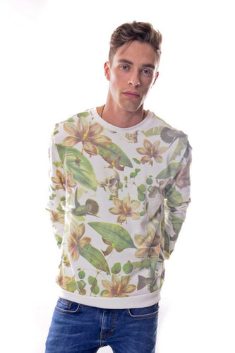 White Flower Skull Printed Cotton Sweatshirt Timya Wholesale S-Ponder