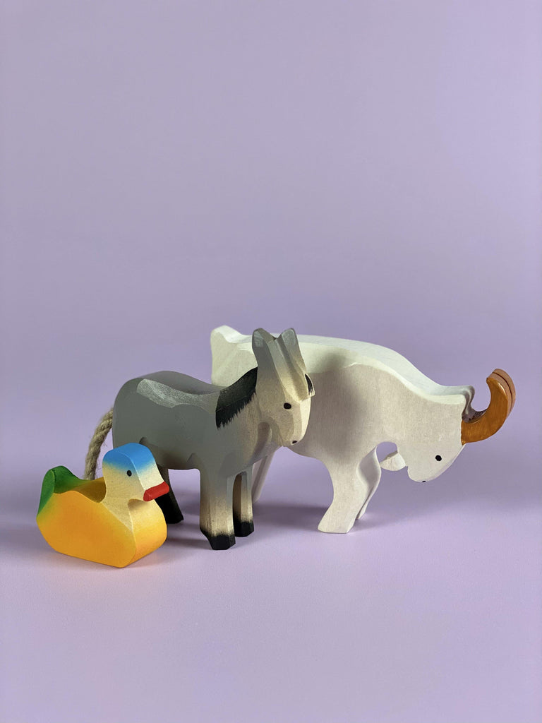 Handcrafted Wooden Duck, Goat & Donkey - Light Lion
