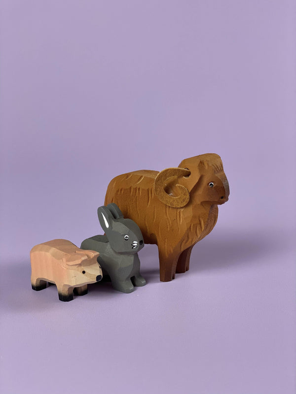 Handcrafted Wooden Bunny, Piglet & Sheep - Light Lion