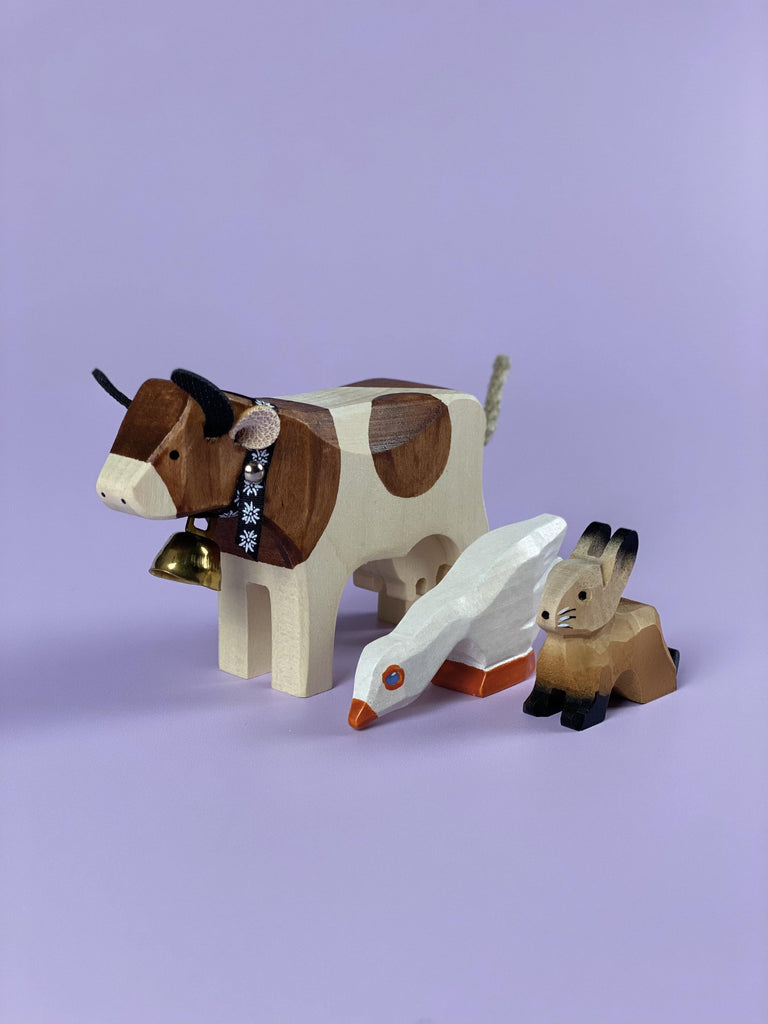 Handcrafted Wooden Cow, Rabbit & Goose - Light Lion