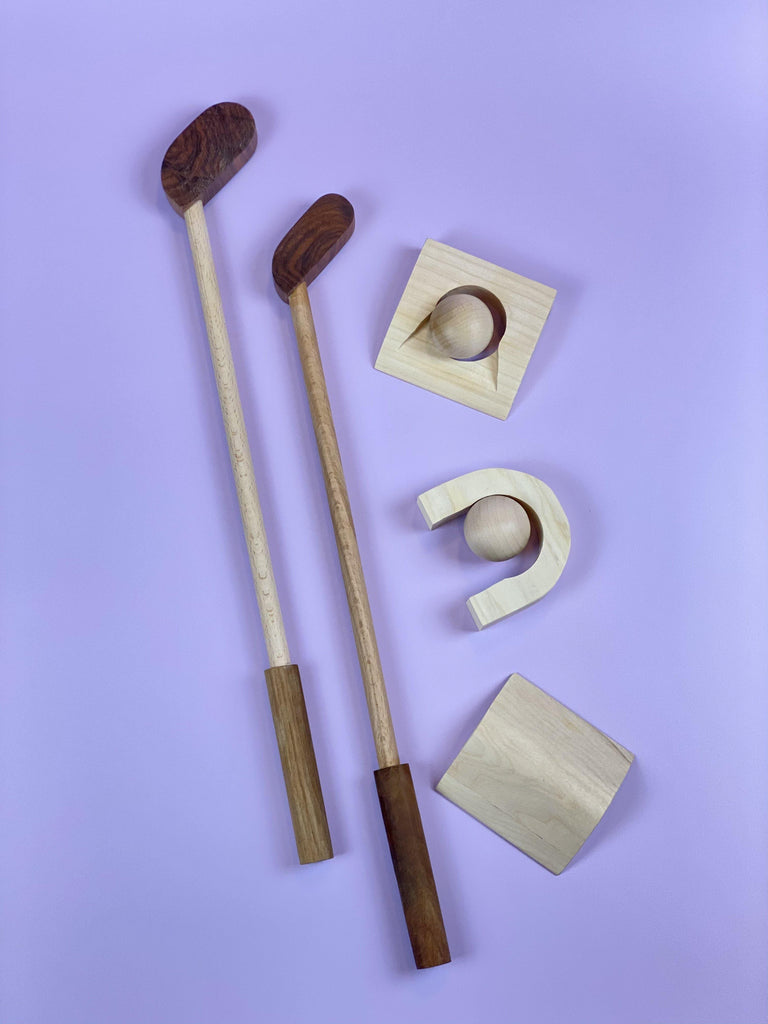 Handmade Wooden Golf Set - Light Lion