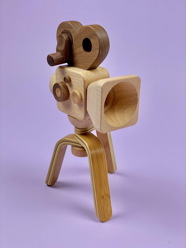 Wooden Film Camera with Tripod - Light Lion