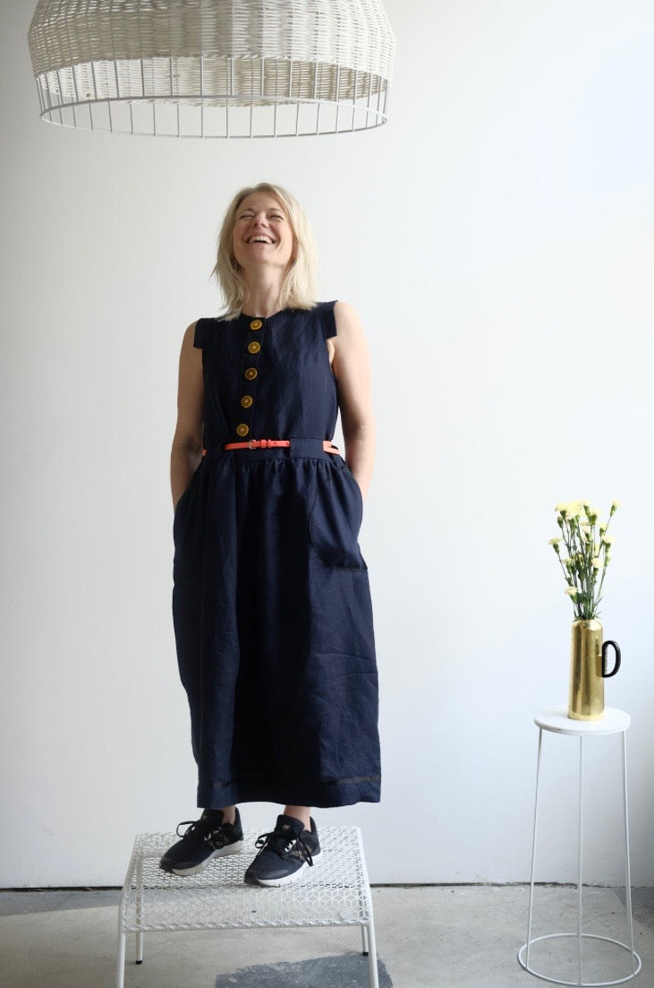 button front linen frock-- navy