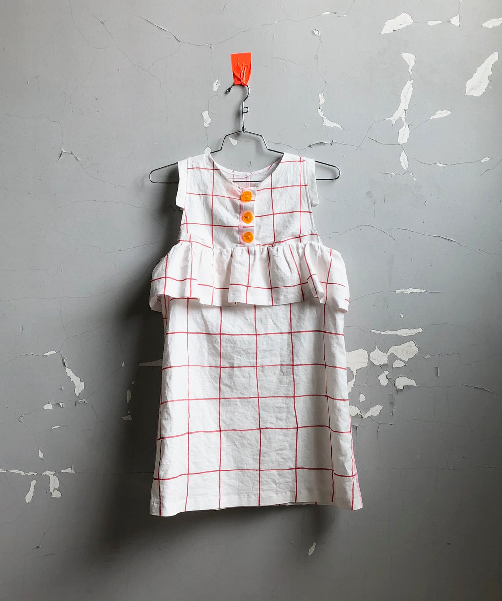 button front linen tunic-- white windowpane