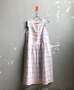 button front linen frock-- white windowpane