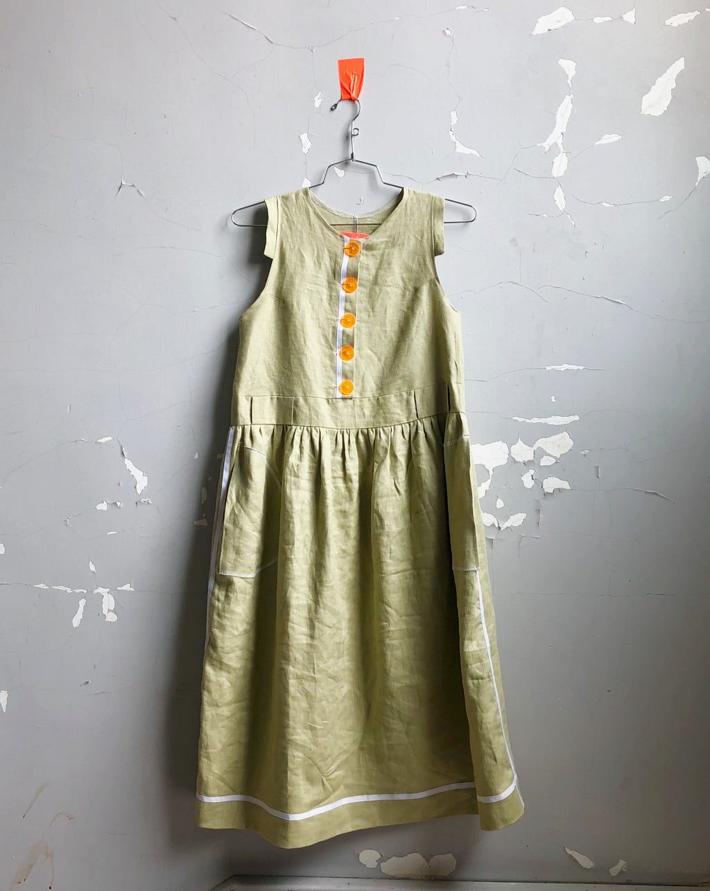 button front linen frock-- avocado