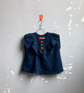 button front linen blouse-- navy