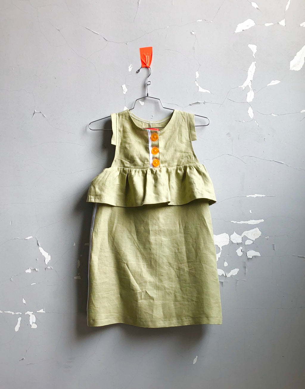 button front linen tunic-- avocado