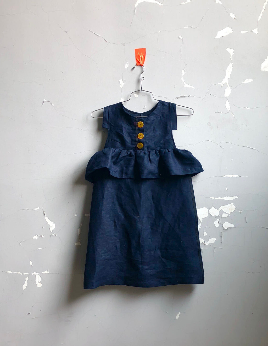 button front linen tunic-- navy