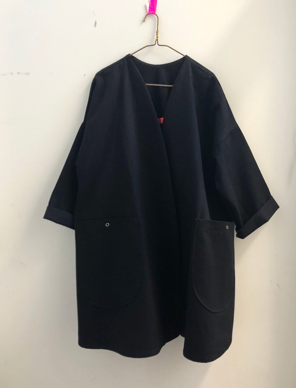 swing coat in black denim