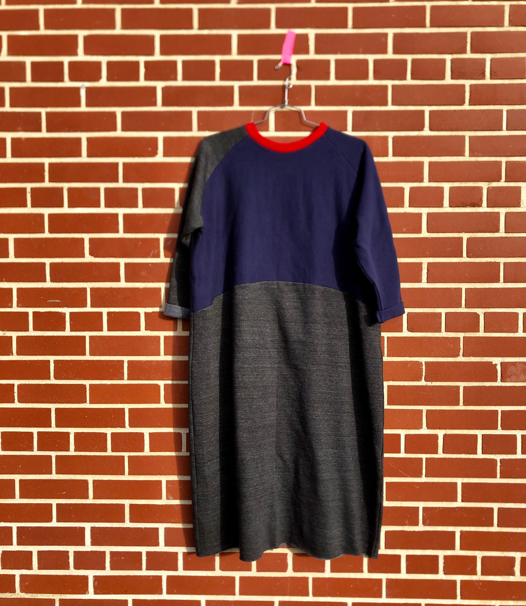 sweatsuit dress-- colour block