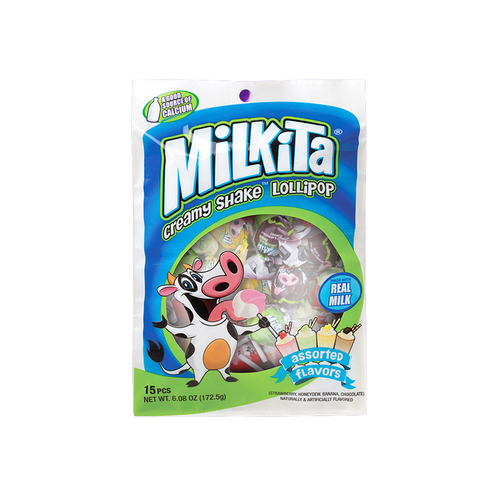 MILKITA MILKSHAKE LOLLIPOP BAG 12CT