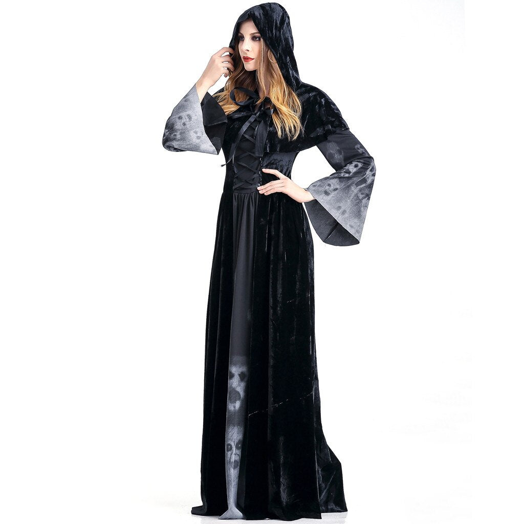Halloween Cosplay Costume Vintage Witch Long Sleeve Maxi Dress