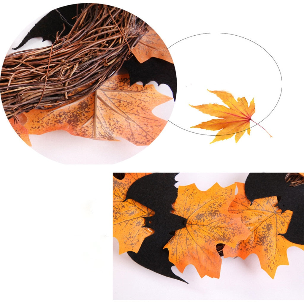 Halloween Decoration Bat Wreath Pendant
