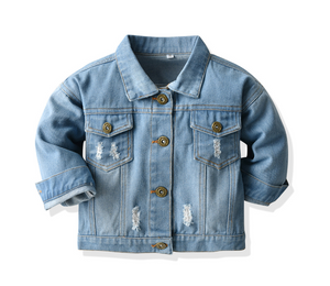 Kids Spring Casual Jacket Ripped Holes Coats