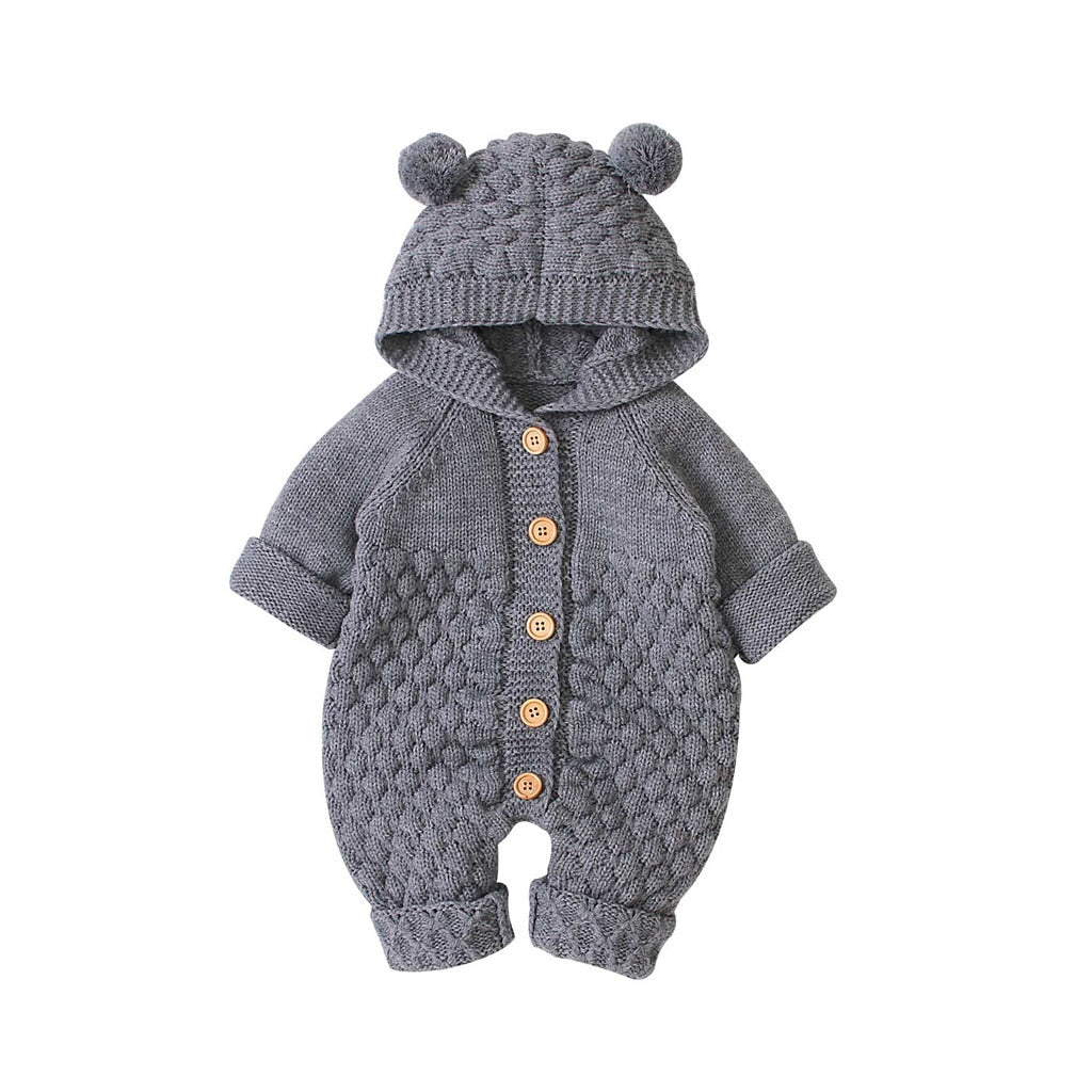 Newborn Fur Ball Hooded Knitted One-piece Romper