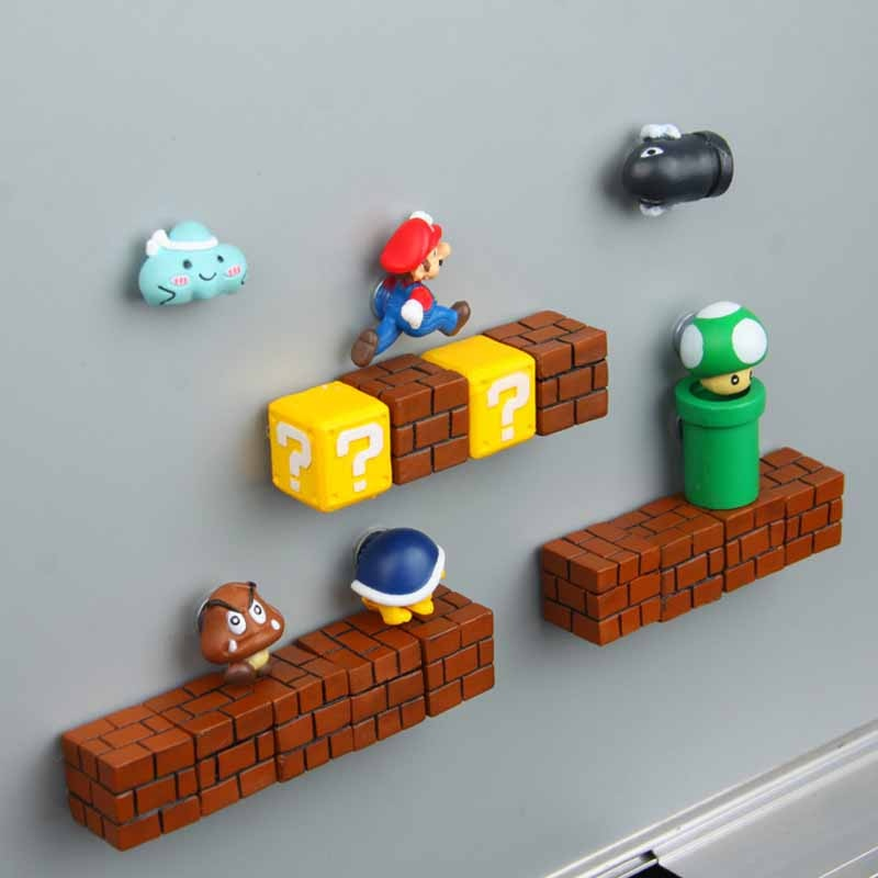 3D Super Mario Resin Fridge Magnets Toys for Kids Home Decoration