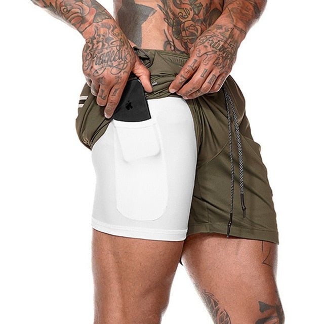 Joggers Shorts Mens 2 in 1 Short Pants Gyms Fitness Bodybuilding Workout Quick Dry