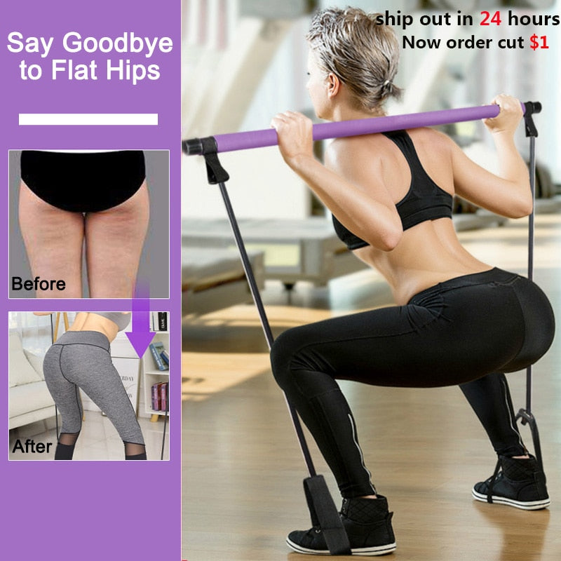 Pilates Stick Bar Resistance Bands Fitness Gym Equipment Fitness Yoga Exercise Bands Workout Crossfit Bodybuilding Seeknfind