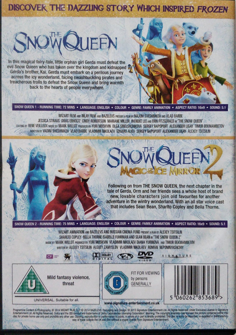 The Snow Queen 1 & 2 cert u region 2