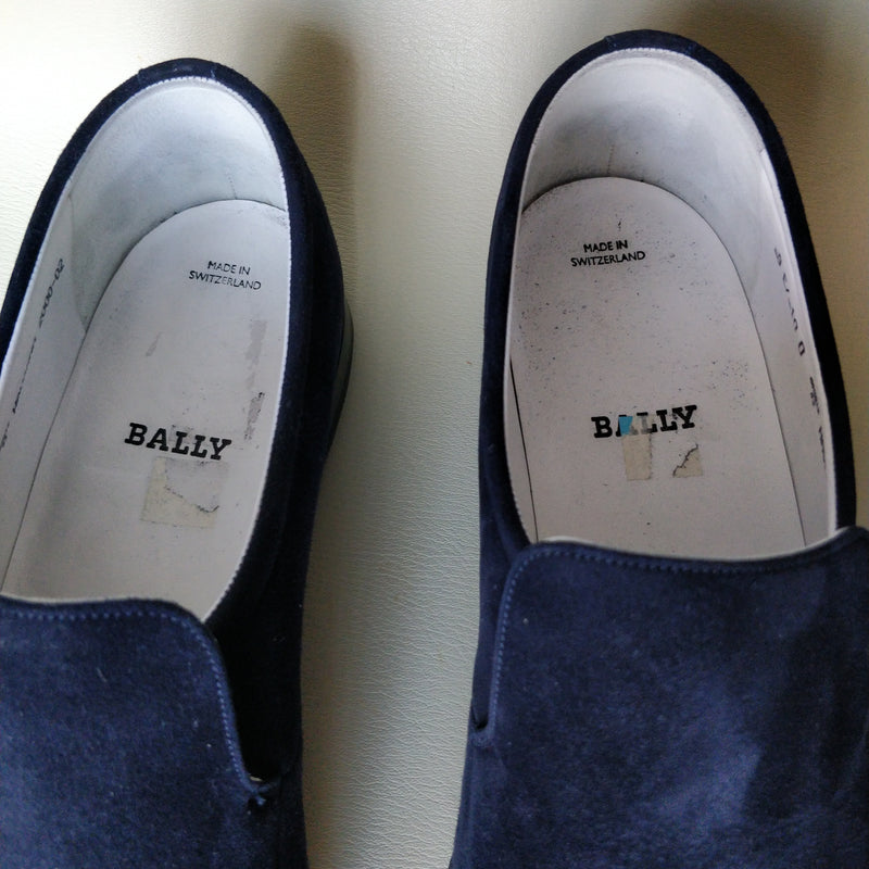 Bally of Switzerland blue dark leather suede shoes size EU 9 US 10