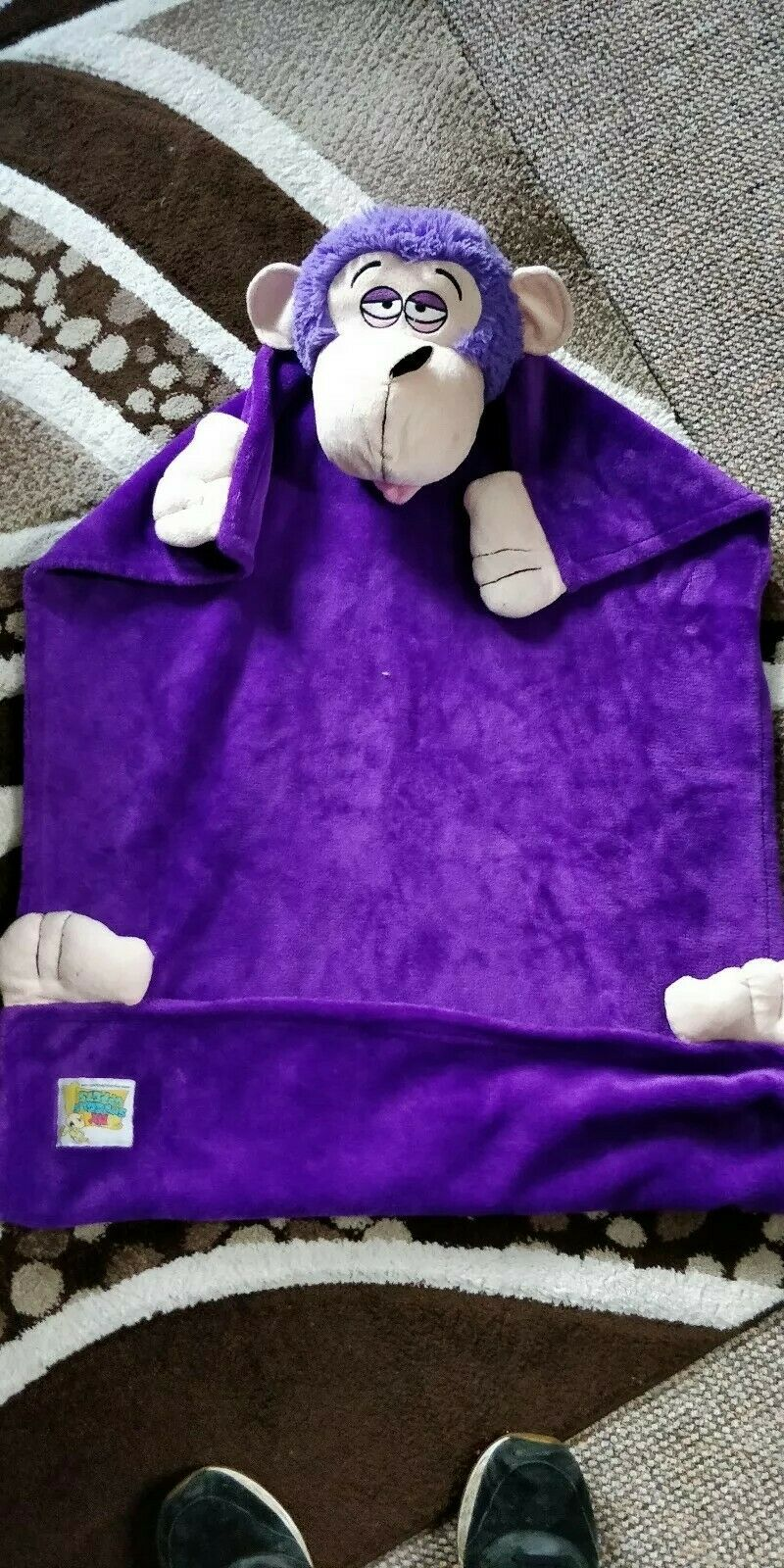 My snuggle Uppets Puppet Fleece Blanket  monkey 95cm X 70cm vgc