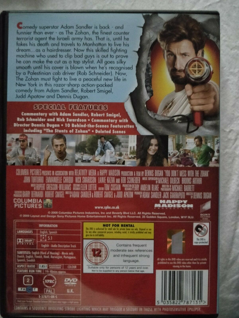 You Don't Mess With The Zohan (DVD, 2009). Condition is Good.