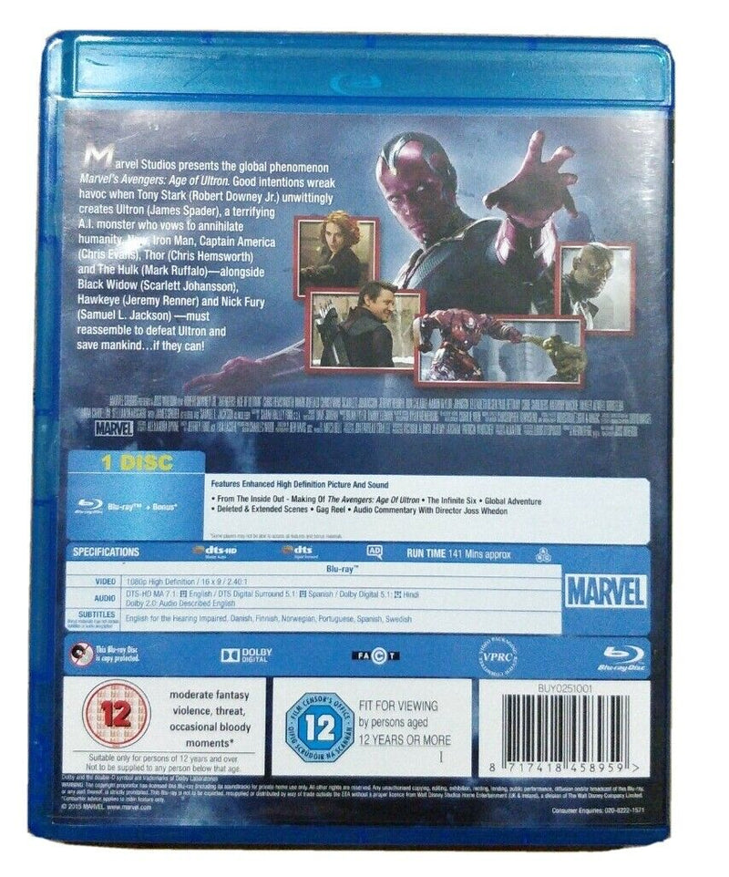 Avengers Age of Ultron Blu-Ray cert 12