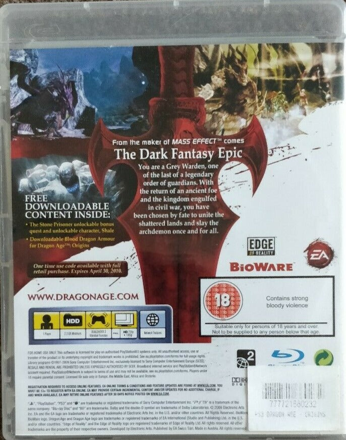 Dragon Age Origins PS3 PEGI 18+ Adventure Sony PlayStation 3