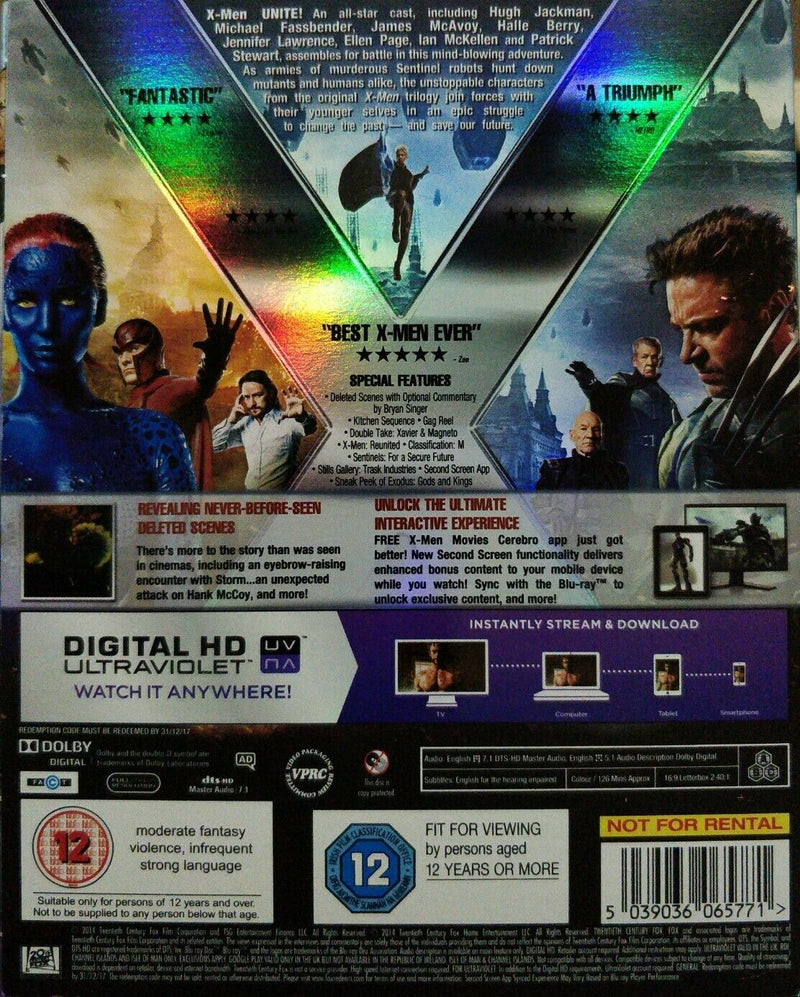 X-Men: Days of Future Past  Blu-RAYay cert 12