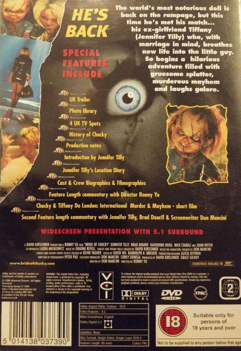 Bride Of Chucky DVD cert18 region 2 Jennifer Tilly