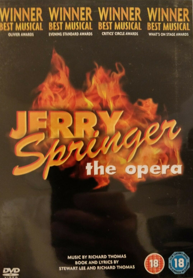 Jerry Springer The Opera DVD cert 18 region 2 with sleeve.