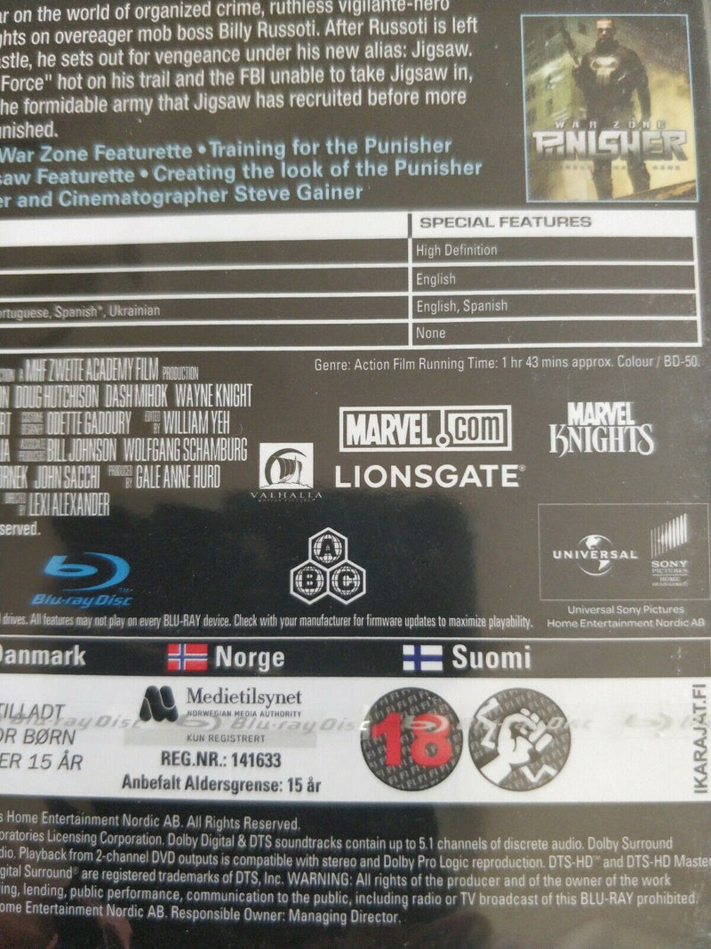 The Punisher Collection Region Free Blu Ray cert18