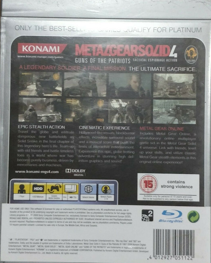 Metal Gear Solid 4 Guns of the Patriots Sony PlayStation 3