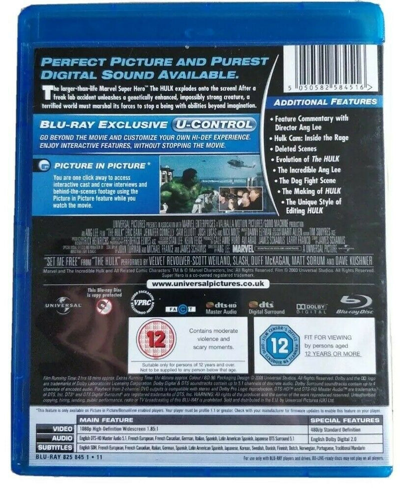 Hulk Blu-ray cert 12 exclusive you control picture in picture additional features