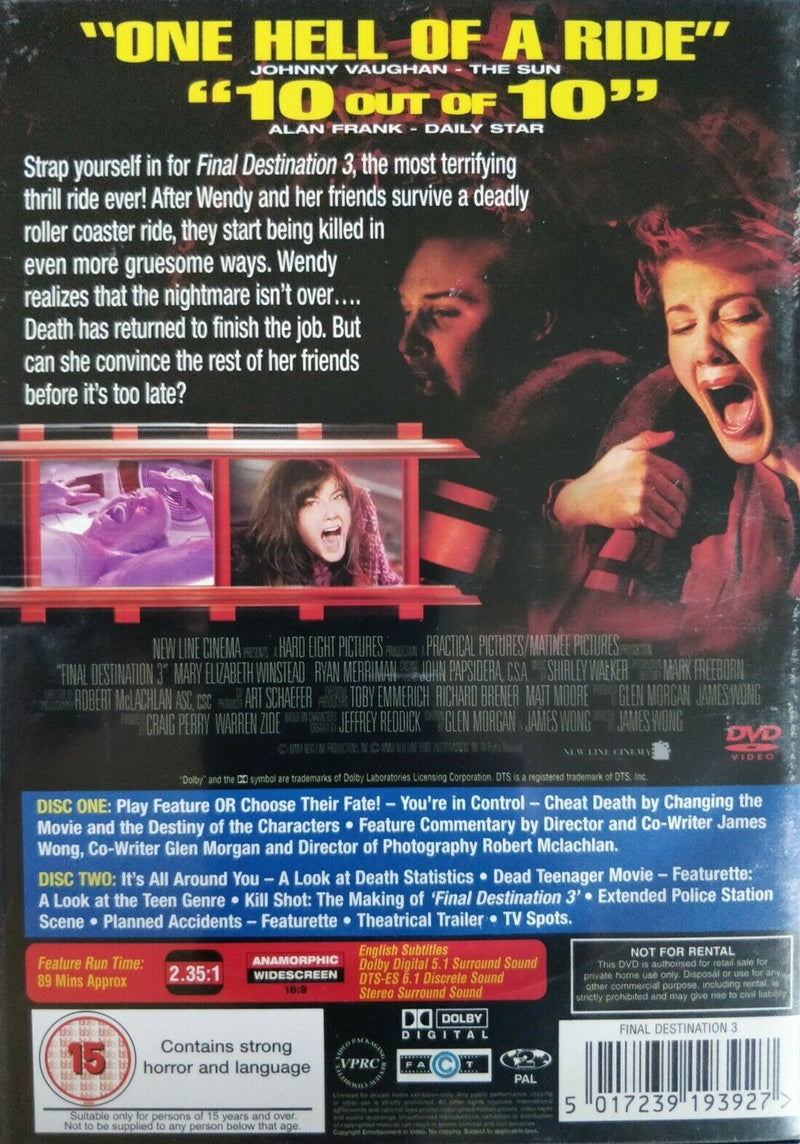 Final Destination 3 DVD cert 15 region 2  Mary Elizabeth Winstead