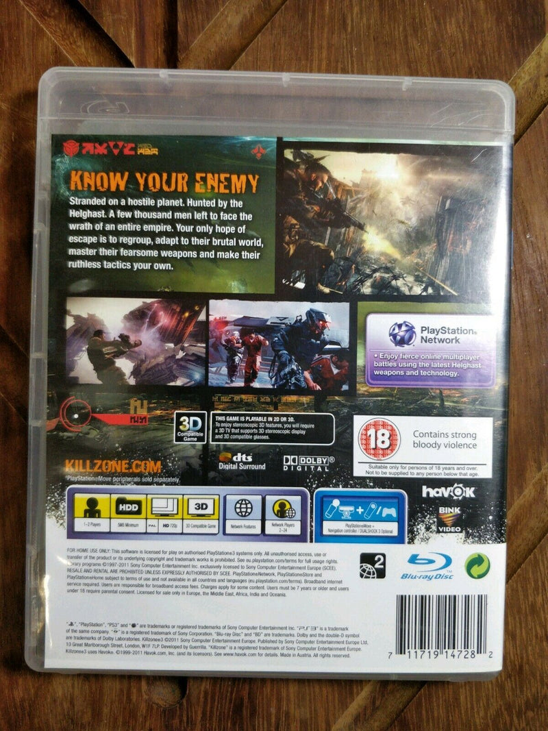 KillZone 3 Sony PlayStation 3 PS3 Game with manual Condition good