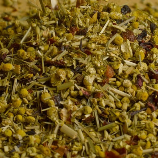 Naturally flavoured blend of herbs & fruit with a soft chamomile, vanilla and orange taste. Organically grown. GOLD MEDAL WINNER.   Contains: Rosehip peels, citrus peels, chamomile, lemongrass, hibiscus, natural flavour, spearmint. Brew 5-8 minutes at 100C.